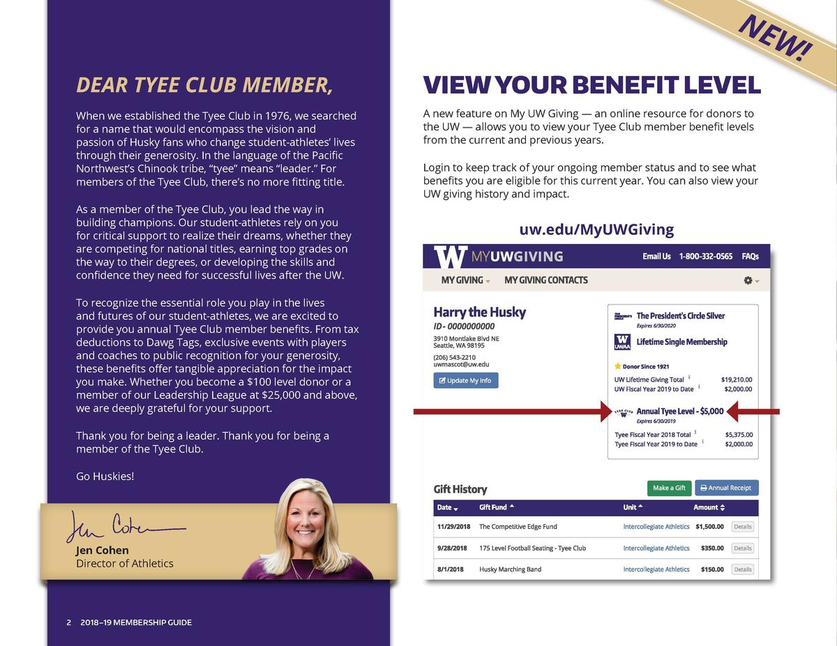 NE  W   DEAR TYEE CLUB MEMBER,  VIEW YOUR BENEFIT LEVEL  When we established the Tyee Club in 1976, we searched for a name...